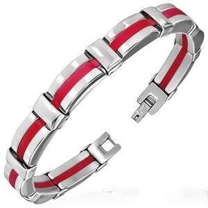 Red Rubber & Stainless Steel Men's Fashionable Bracelet