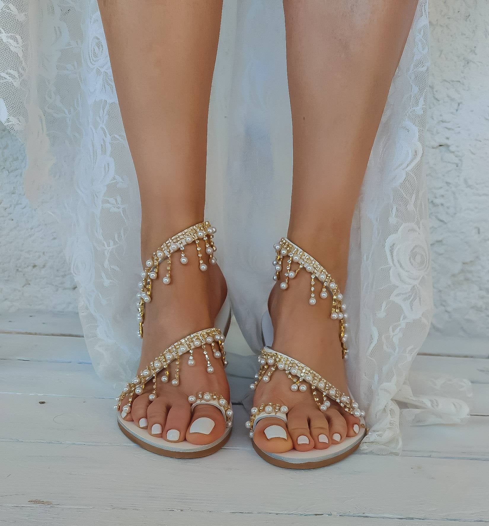 Wedding Sandals Leather Sandals Handmade To Order Bridal Sandals Beach Wedding Shoes Pearls We In 2020 Wedding Sandals Leather Wedding Sandals Beach Wedding Shoes