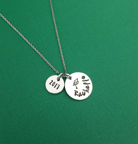 27ebf0df57ae4 Graduation Hand Stamped Necklace Jewelry - Senior Gift - Grad Gift ...