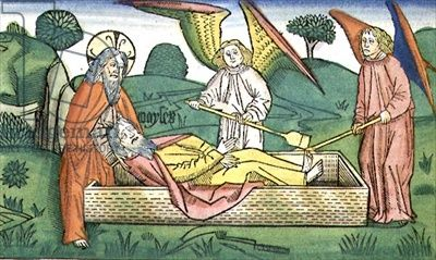 Deuteronomy 34  Death of Moses, from the 'Nuremberg Bible (Biblia Sacra Germanaica)' (coloured woodcut), 1483