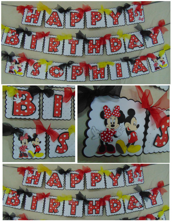Mickey or Minnie Mouse Birthday Happy birthday Banner with Name 1st