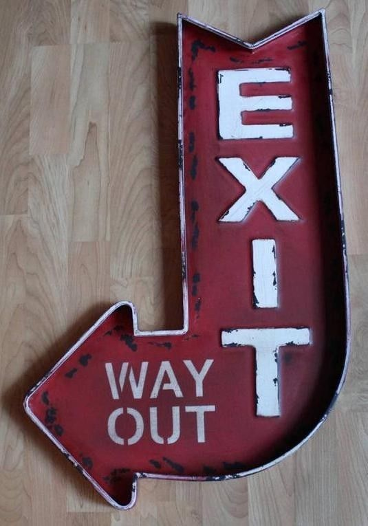 Large Vintage Style Exit: Way Out Tin Sign, Metal, Home Theater ...