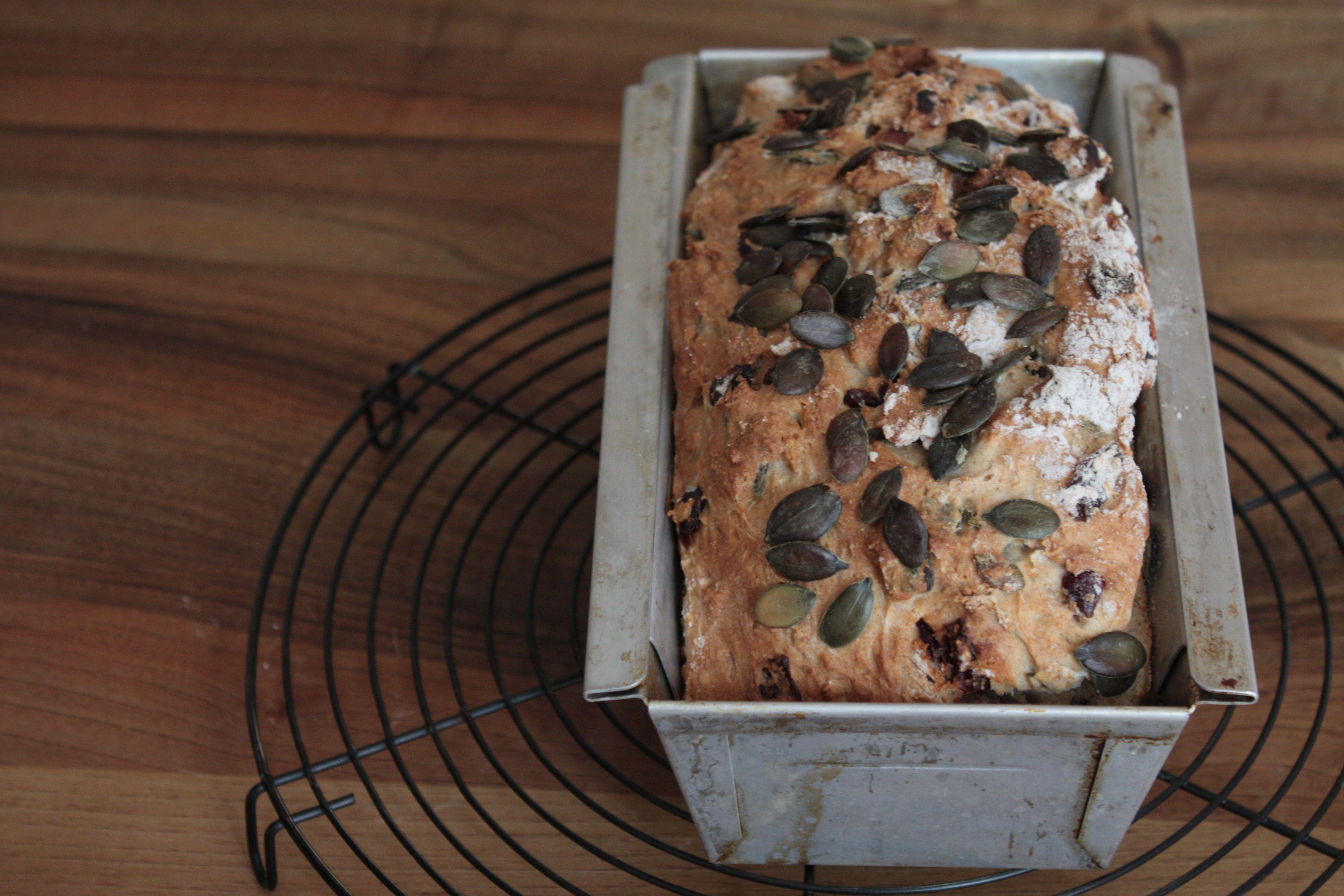 Joghurt-Brot mit Cranberries und Kürbiskernen