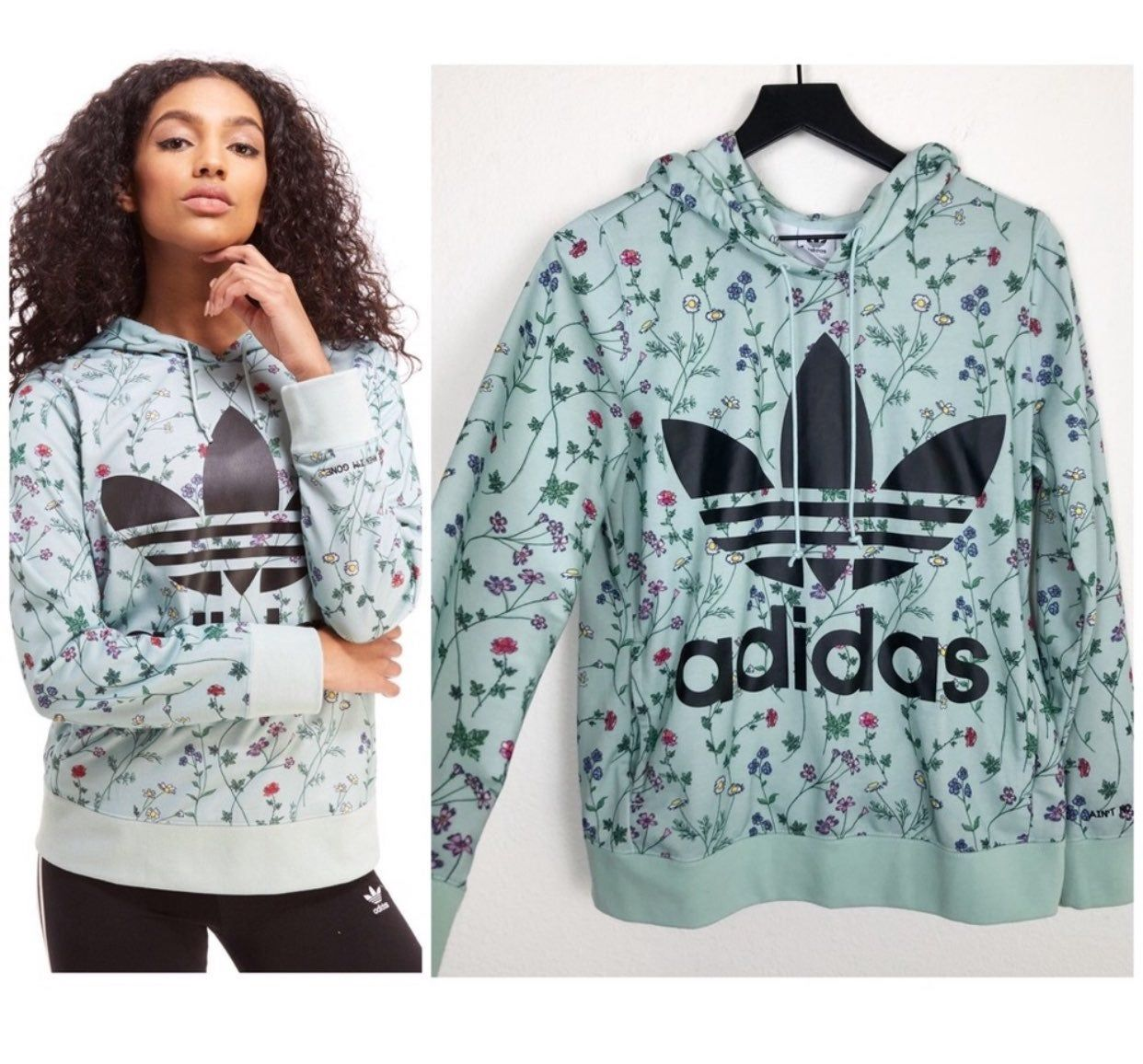Sz S Color Mint Green Yellow Pink Blue White Desc Adidas Hoodie In A Mint Green Color With Small Flo Floral Print Hoodie Hoodie Fashion Hoodies Womens [ 1156 x 1242 Pixel ]