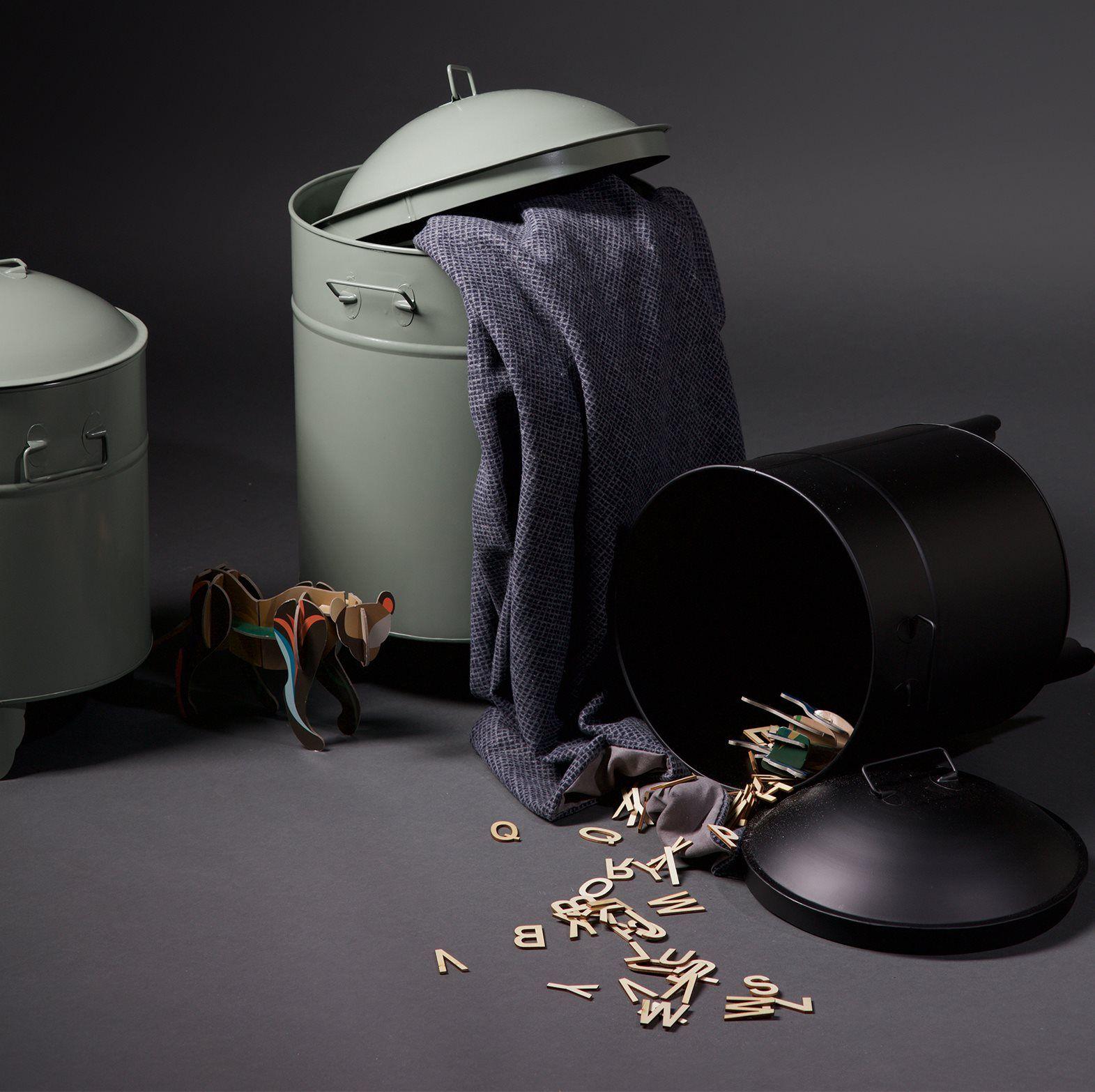 Aufbewahrungsbox Abfalleimer Wäschebox Owen 2er Set in schwarz