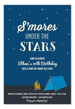 S Mores Under The Stars Camping Party Pinterest Party Bonfire