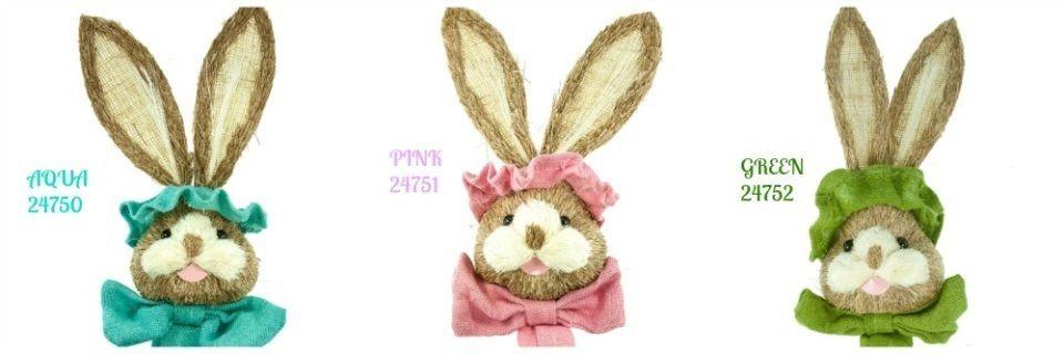 "25"" Sisal Bunny Head w/Burlap Hat & Bow #Renaissance200"