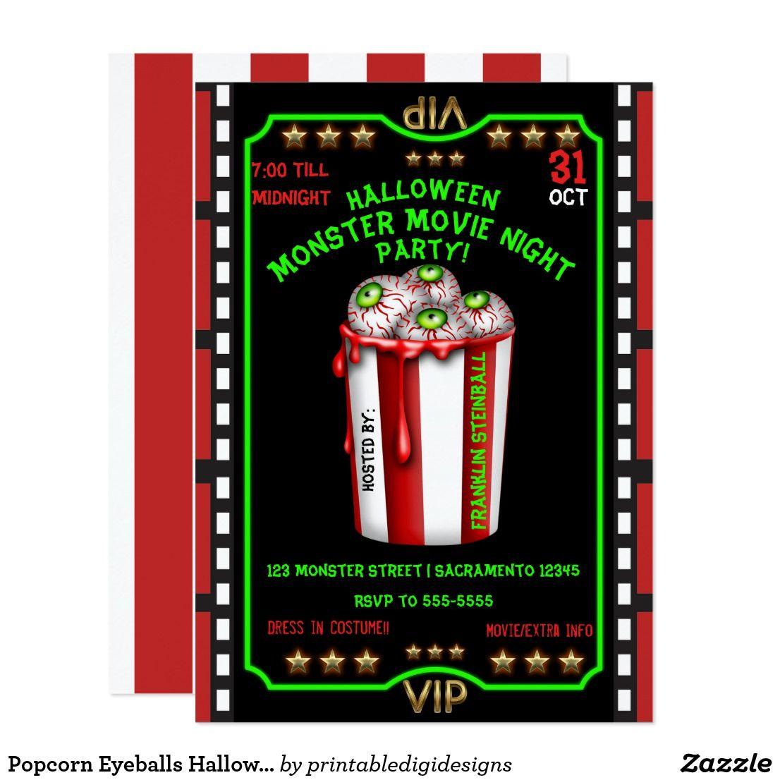 Popcorn Eyeballs Halloween Fright Night Movie Invitation