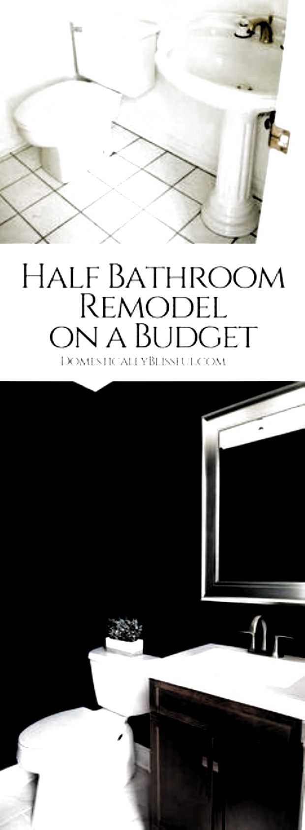 Photo of A half bathroom remodel on a budget with before & after pictures featuring dark …