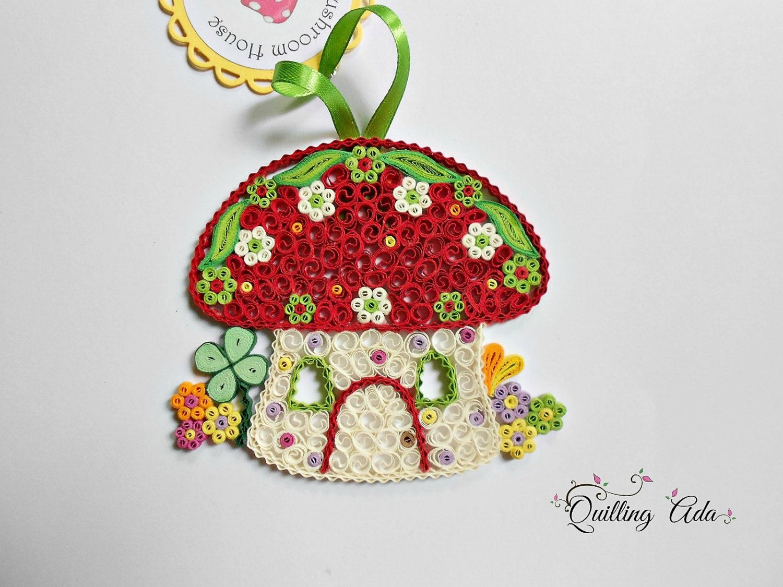 Christmas ornament  Quilled mushroom houseu mushroom ornament