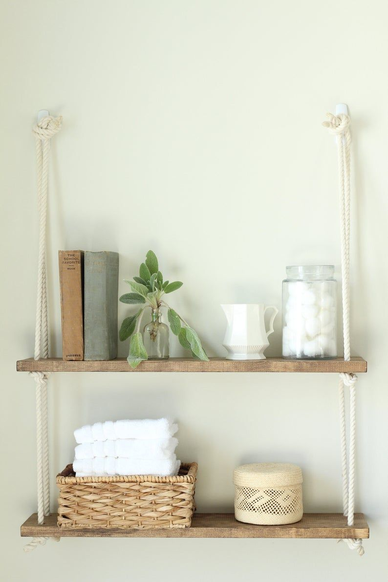 Bathroom Shelf Hanging Rope Shelf Single Double Or Etsy In 2020 Rope Shelves Hanging Rope Shelves Farmhouse Shelves Decor
