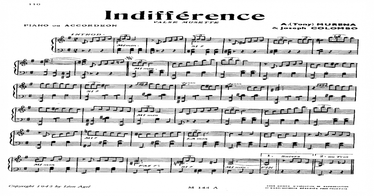 Indifference Valse Musette Spartito Indifference Soloing Sheet Music