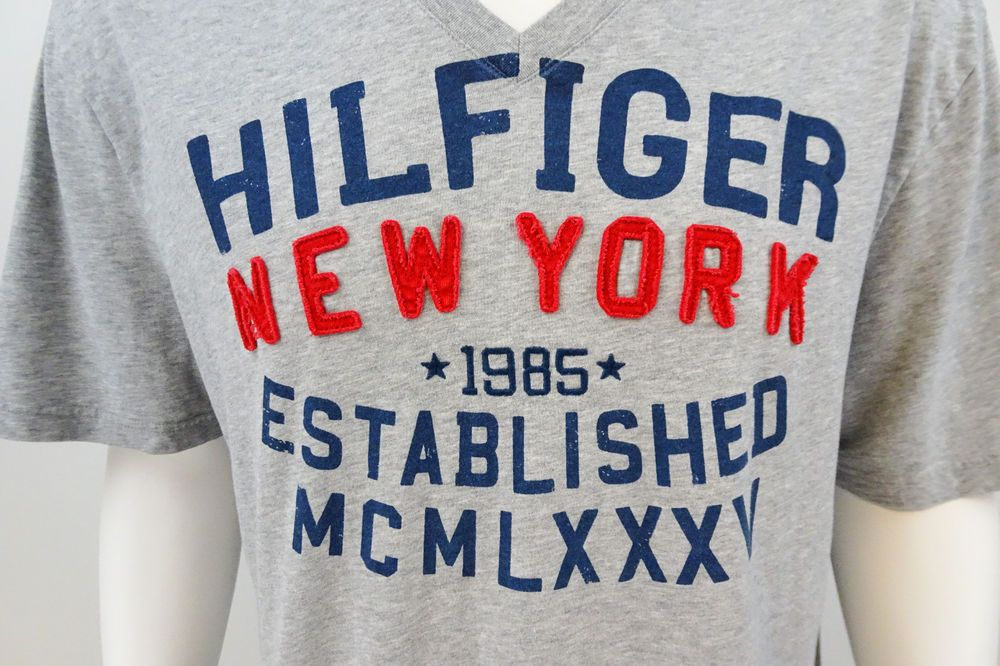 Vtg Tommy Hilfiger Embroidered New York Gray T-Shirt XXL Short Sleeve M213 #TommyHilfiger #GraphicTee