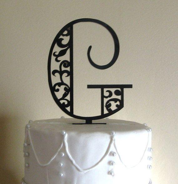 Custom Scroll Monogram Cake Topper (Black or Silver)