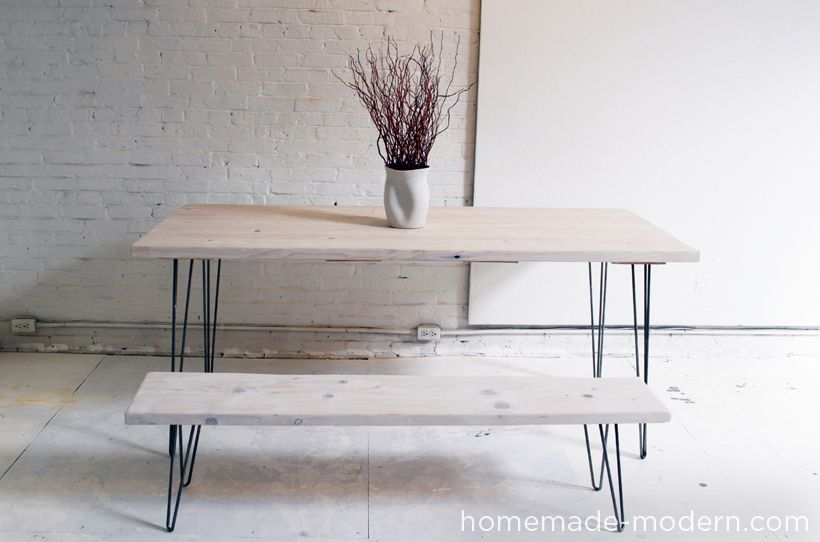 Homemade Modern Diy Ep3 1 White Washed 2x12 Table With Hairpin