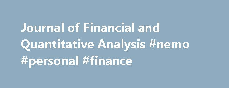 Journal Of Financial And Quantitative Analysis Nemo Personal