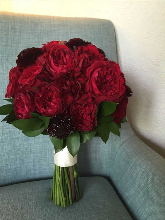 gorgeous burgundy posy bouquet with tess from the david austin roses collection
