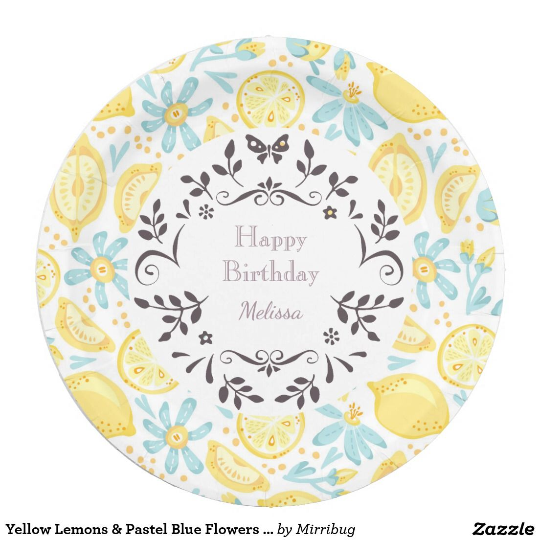 Yellow Lemons \u0026 Pastel Blue Flowers Happy Birthday Personalized Paper Plate  sc 1 st  Pinterest & Yellow Lemons \u0026 Pastel Blue Flowers Happy Birthday Personalized ...