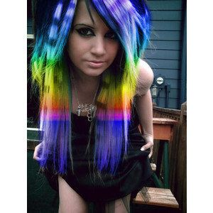 emo girl rainbow hair, long, bangs  photoshopped but still