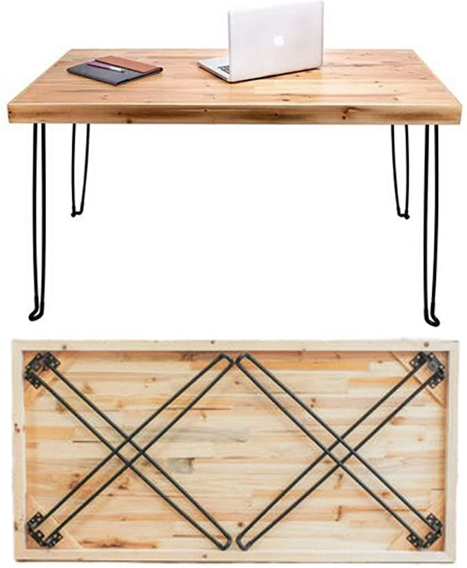 """SLEEKFORM Folding Desk Lightweight Portable Wood Table 47""""x 24""""   Small Wooden Foldable Workstation for Study Writing Computer PC Laptop   Industrial Rustic & Metal Hairpin Legs   No Assembly Required"""