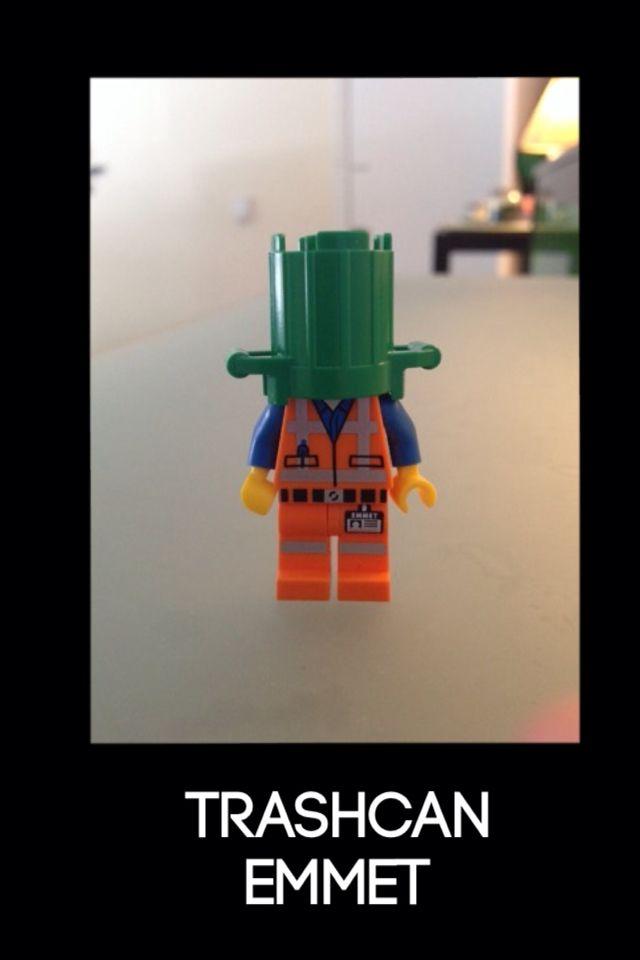 Trash can Emmet | Lego mini figures | Pinterest | Lego