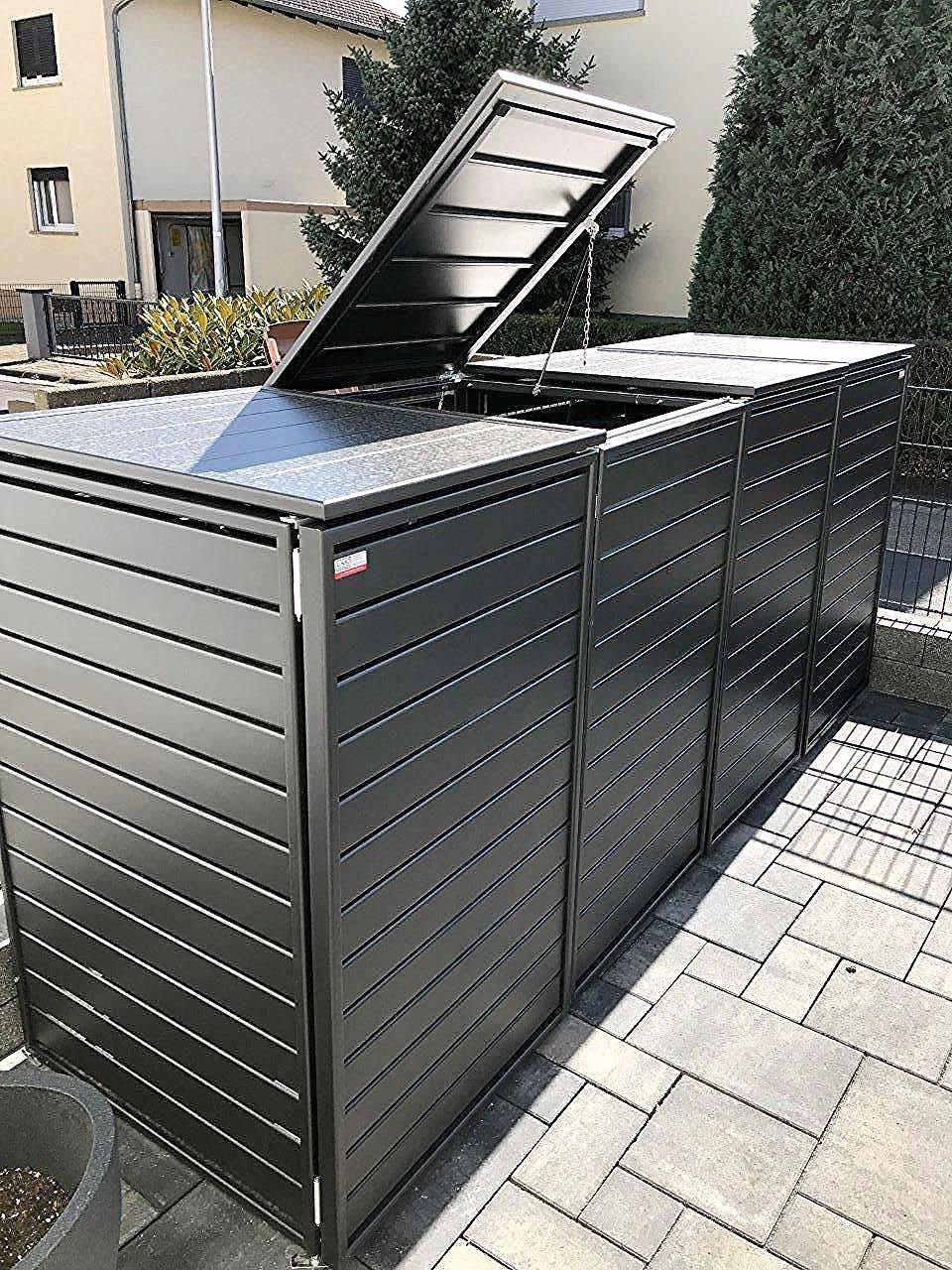 Mulltonnenbox Aluminium Dezent Fur 4x 240 Liter Mit Klappdach Und Automatikoffner In Dunkelgrau Oder Hellgrau Als B In 2020 Garden Shed Diy Shed Homes Backyard Sheds