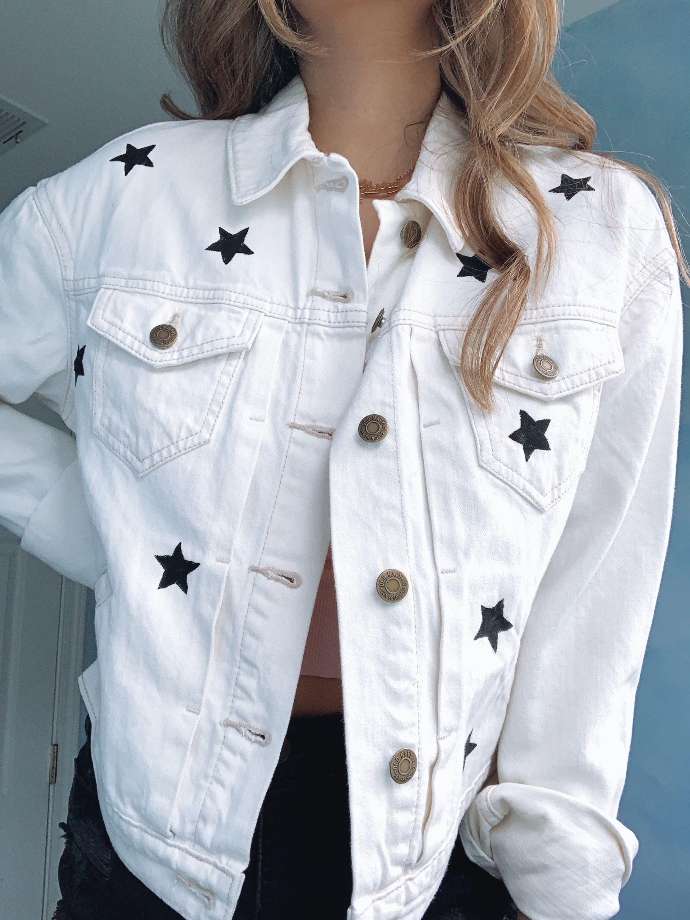 Black Stars Cropped Denim Jacket In Off White Denim Jacket White Denim Jacket Cropped Denim Jacket [ 3088 x 2316 Pixel ]
