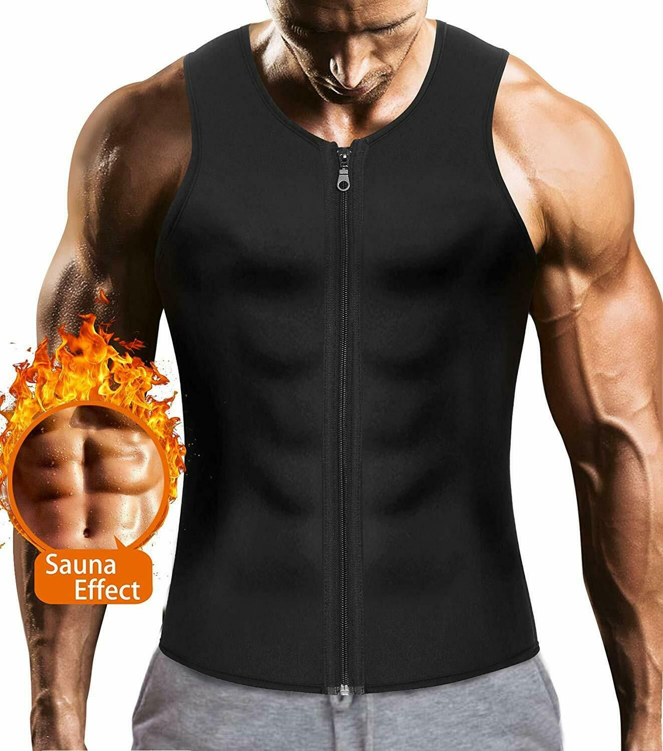Men/'s Waist Trainer Vest for Weight Loss Sauna Hot Neoprene Body Shaper Tank Top