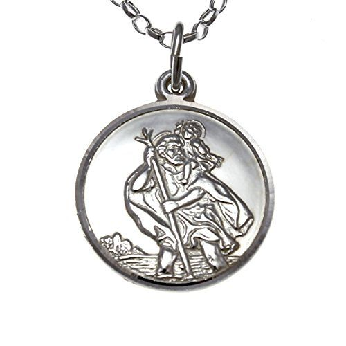 Sterling Silver St Christopher Medal with 18