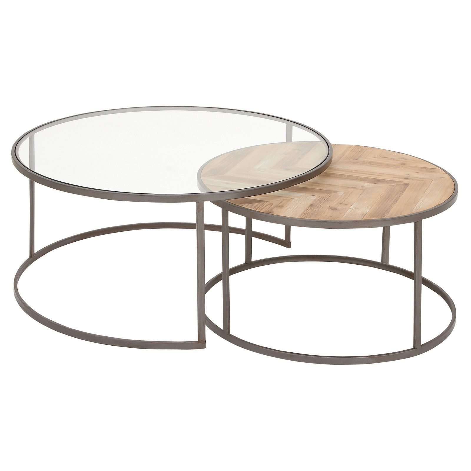 Decmode Round Coffee Table Set Of 2 Nesting Coffee Tables Glass Wood Coffee Table Coffee Table [ 1600 x 1600 Pixel ]