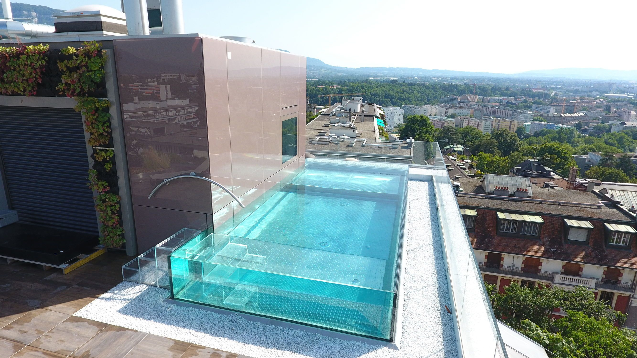 Pool Edelstahl Semi-inground Swimming Pool / Glass / Stainless Steel / Custom Excelsior Piscines Carre Bleu | Swimming Pools, Swimming Pools Inground, Glass Pool