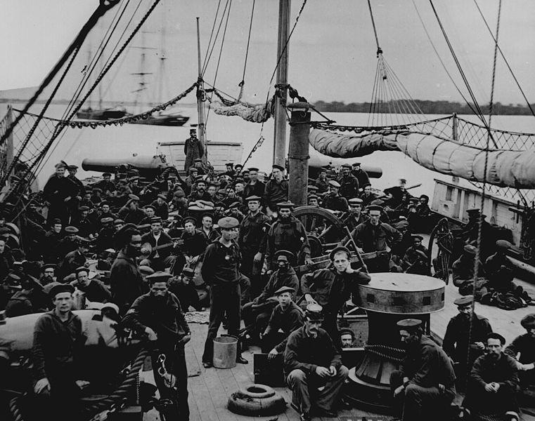 American Civil War: Sailors and Marines on the deck of the U.S. gunboat Mendota, 1864.