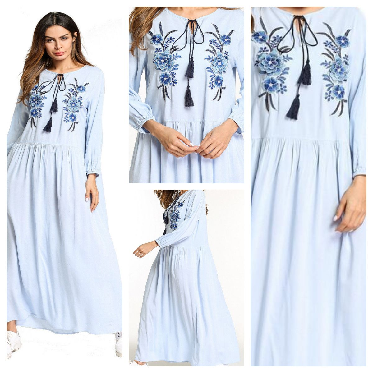 0750340ef4 Loose Maxi Dress - Light Blue Viscose Material Summer Dress   Abaya - Long  Sleeves - Flower embroidery and Tassels  Muslim Women Embroidered Maxi Dress  ...