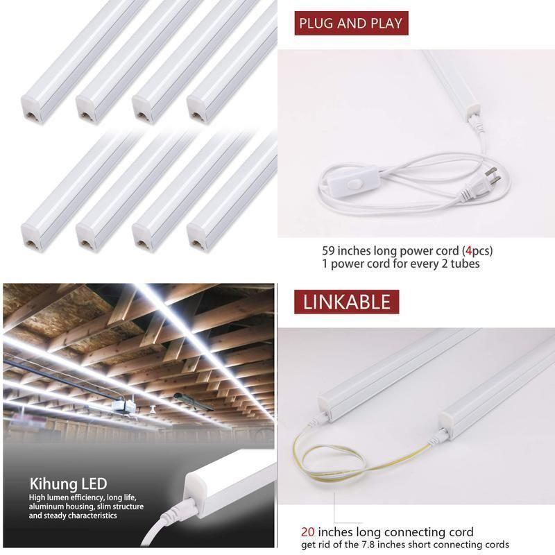 Pack Of 8 4ft Led Shop Light Linkable T5 Integrated Fixture Tube 4 Led Tube Light Led Tubes Tube Light