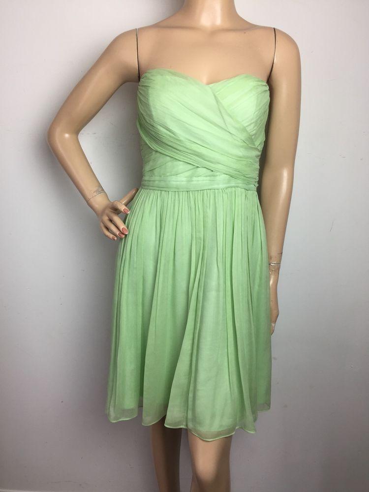 J.Crew Arabelle In Silk Chiffon Dress Green Pistacho Bridesmaid Size ...
