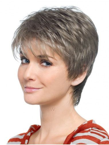 Style Lace Front Short Synthetic Grey Wigs
