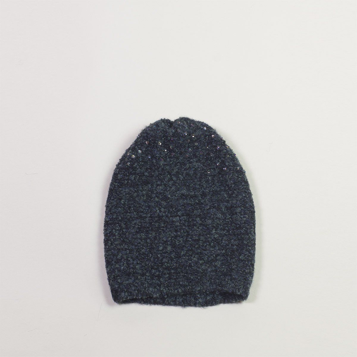 Boucle Beanie with Hand-Sewn Sequins