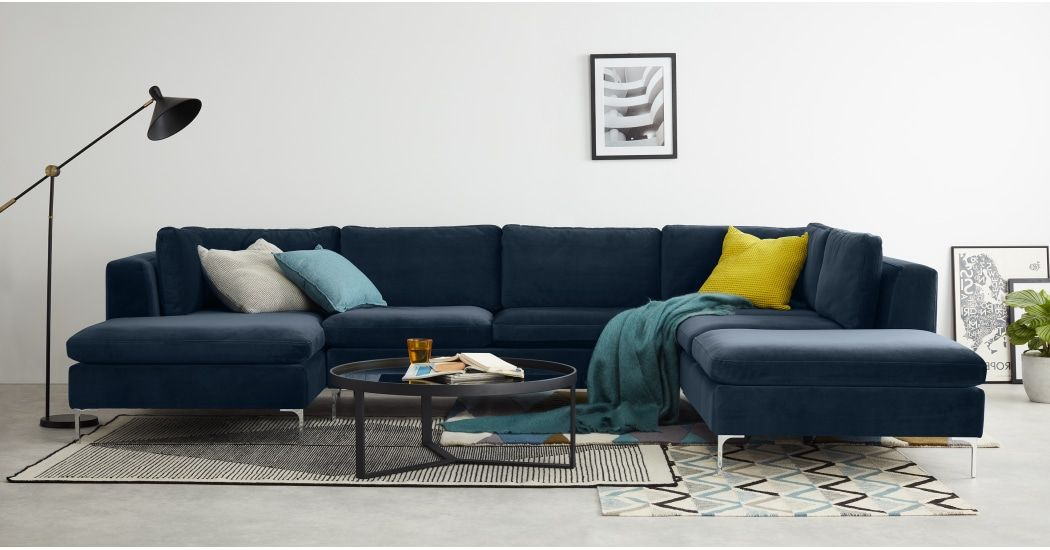 Monterosso Right Hand Facing Corner Sofa Sapphire Blue Velvet Corner Sofa Living Room Blue Corner Sofas Velvet Corner Sofa