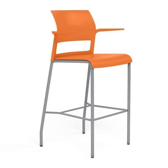 Steelcase Move Plastic Back and Seat Stool - Citron, Platinum Frame
