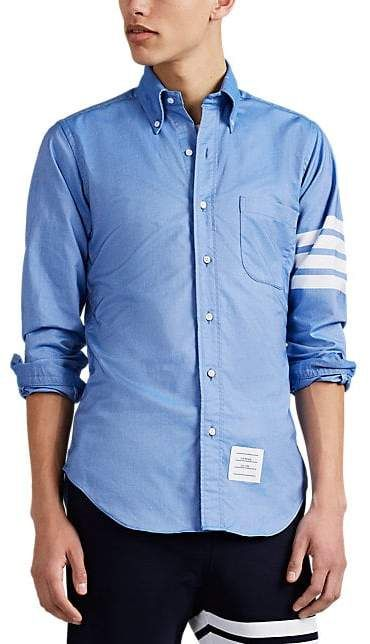 23ccc2d8b66 Thom Browne Men's Block-Striped Cotton Oxford Cloth Shirt - Blue ...