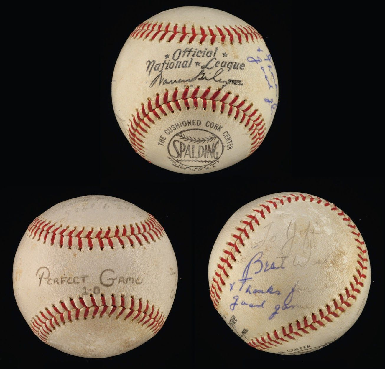 "Dodgers Blue Heaven: The Jeff Torborg Collection at Hunt's MLB FanFest Auction - He Caught Koufax's Perfect Game: And to cap it off, Jeff Torborg caught Sandy Koufax's Perfect game on September 9, 1965.  BTW, Torborg was just 23 years old at the time.  Below is a game ball inscribed by Sandy to Jeff.     ""To Jeff, Best wishes + thanks for a good game"""