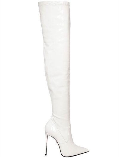 LE SILLA 110Mm Stretch Patent Leather Boots, White. #lesilla #shoes #boots