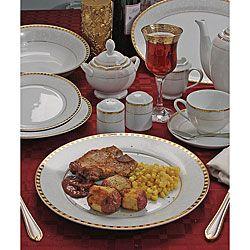 Ricamo 49-piece Gold Rim Porcelain Dinnerware Set - Overstock™ Shopping - Great Deals on Formal Dinnerware