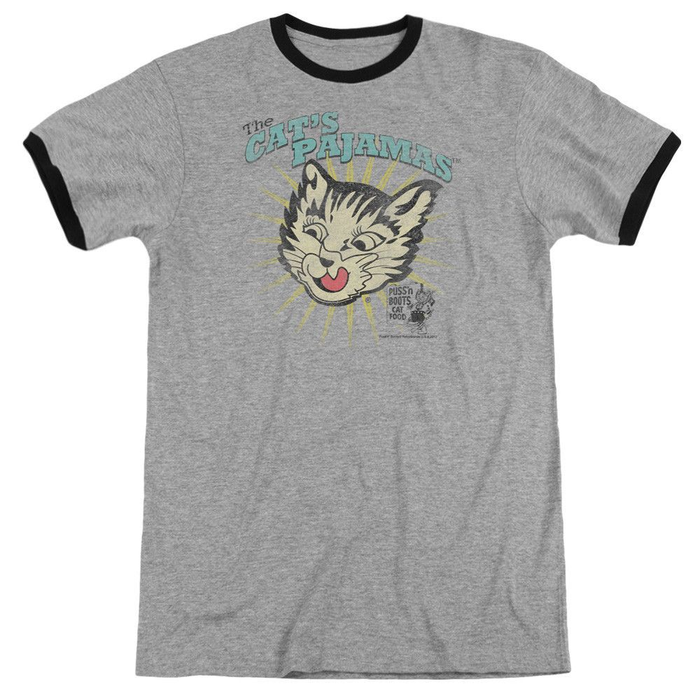 Puss N Boots - Cats Pajamas Adult Ringer T- Shirt