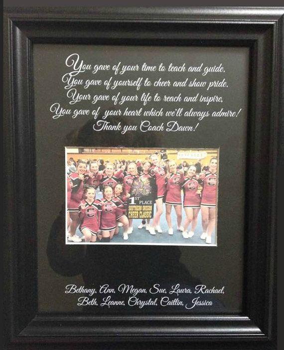 Cheer coach thank you gift personalized by WeddingFramesByDiane ... b3623dcbd7cf7
