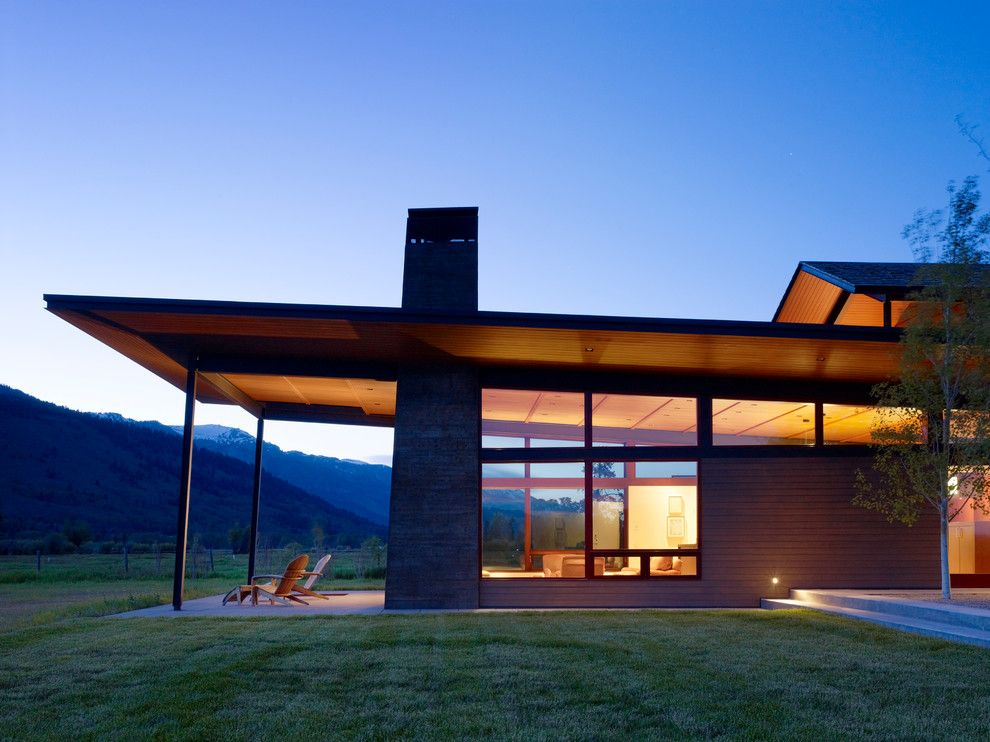 Shed roof modern house exterior contemporary with steel beams