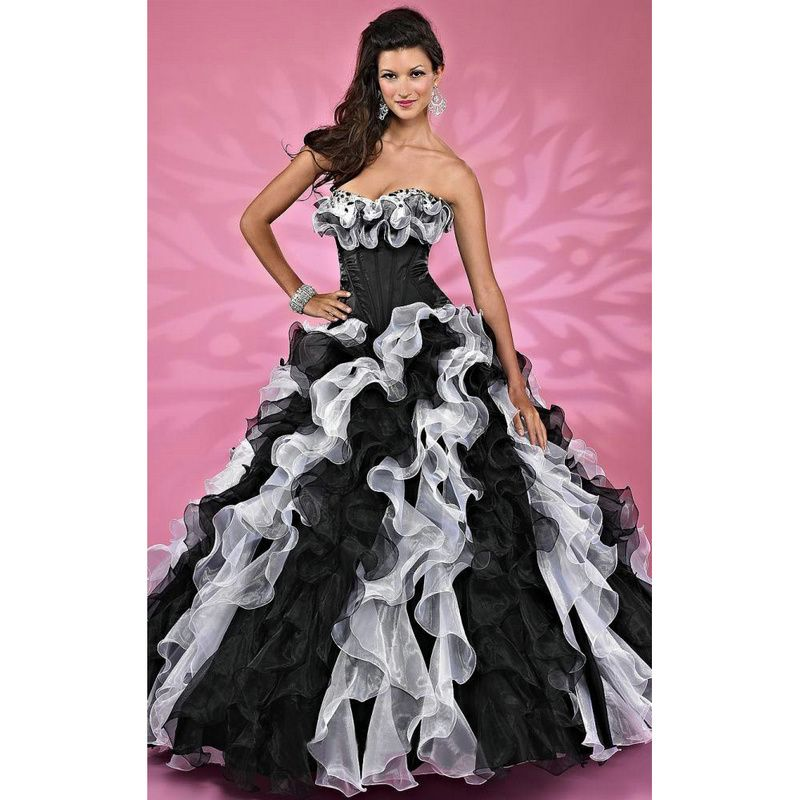 2017 Black and White Ruffels Floral Masquerade Ball Gowns Elegant ...