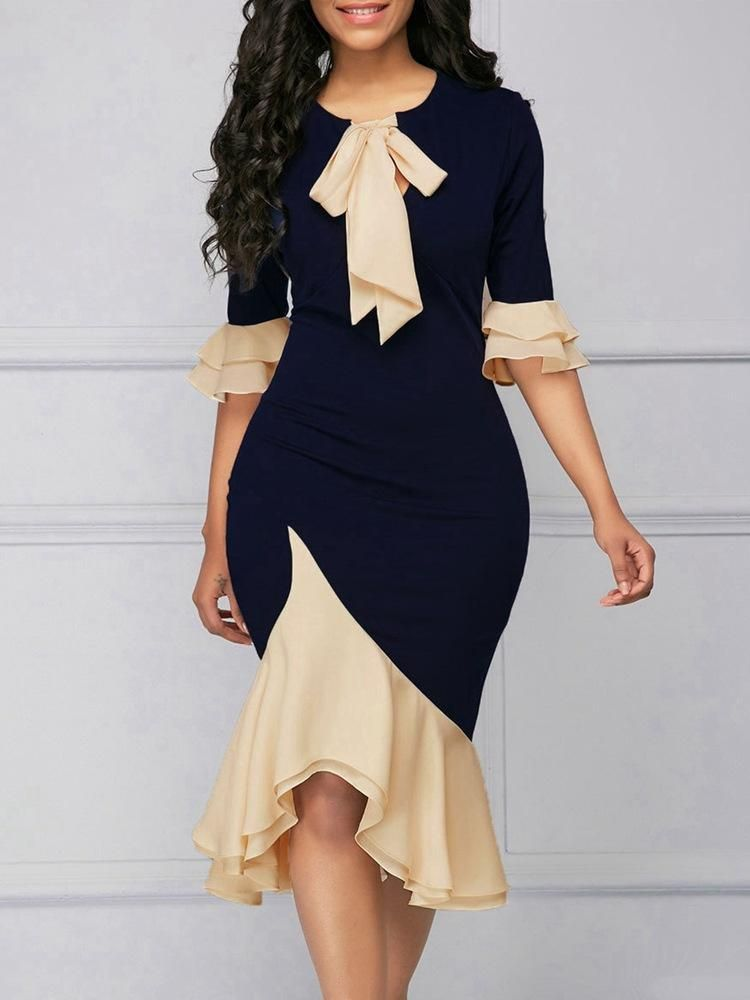 c5b0bcb384e Flare Cuff Asymmetric Hem Tie Neck Sheath Dress