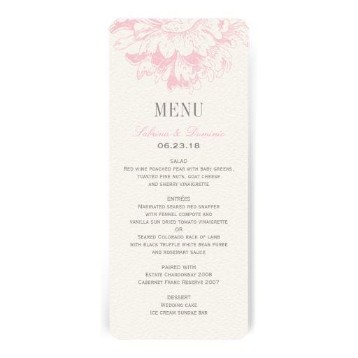 Wedding Dinner Menu Cards  Pink Floral Peony  Custom Wedding