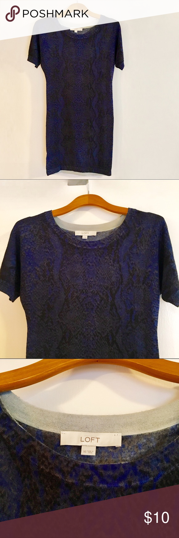 LOFT Blue Skakeskin Print Sweaterdress Deep blue, lightweight, short-sleeve skakeskin print sweaterdress. EUC. LOFT Dresses